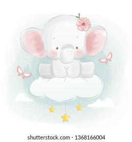 Cute Baby Elephant Sitting on Cloud