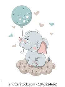 Cute baby elephant sitting on the cloud