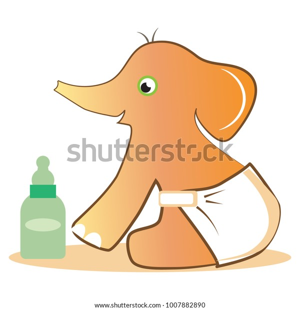 Cute Baby Elephant Wearing Diapers Looking Stock Vector Royalty Free 1007882890