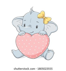 Cute baby elephant with yellow bow holding a big pink heart, vector illustration.