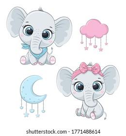 Cute baby elephants boy and girl.