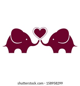 Cute baby elephants with heart