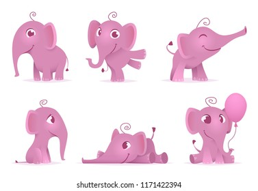 Cute baby elephants. Wild african funny adorable animals vector characters in different action poses. Illustration of pink elephant animal baby