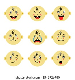 Cute baby face emoticon vector collections. Set of emoticons are laugh, cry, smile,  sad, and surprised. Available in eps10 - Vector
