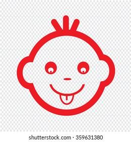 Cute Baby Face Emotion Icon Illustration symbol design