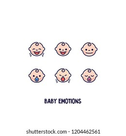 Cute baby faces emotions. Set of baby expressions. Isolated vector icon.