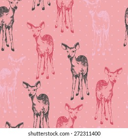 Cute Baby Fawn Seamless Repeat Wallpaper