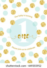 Cute baby first birthday card with golden glitter confetti for your decoration