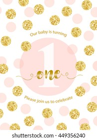 Cute baby first birthday card with golden glitter confetti for your decoration. Birthday card with metallic texture dots. Can be used as banner, flyer, card etc
