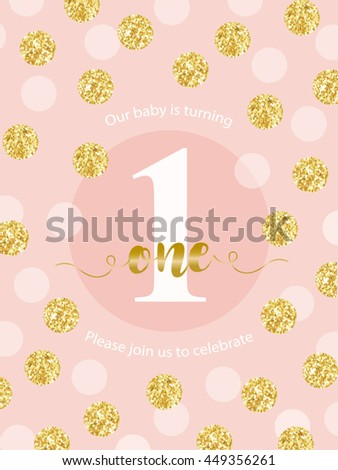 Cute Baby First Birthday Card Golden Stock Vector Royalty Free