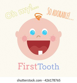 Cute baby first tooth vector concept. Funny cartoon smiling little boy first tooth. Little baby infant flat cartoon. First tooth vector concept. Cute little baby smiling. Vector hand drawn baby boy.