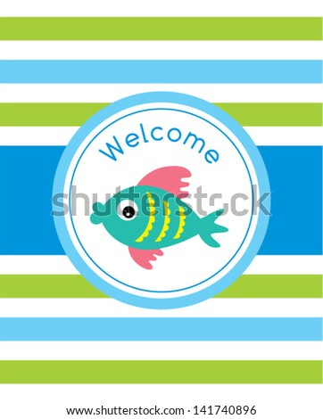 9177d3c99a0f Cute Baby Fish Welcome Tag Stock Vector (Royalty Free) 141740896 ...