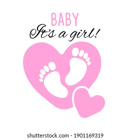 Cute baby footprint with text. Vector illustration