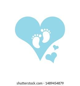 cute baby footprints in heart