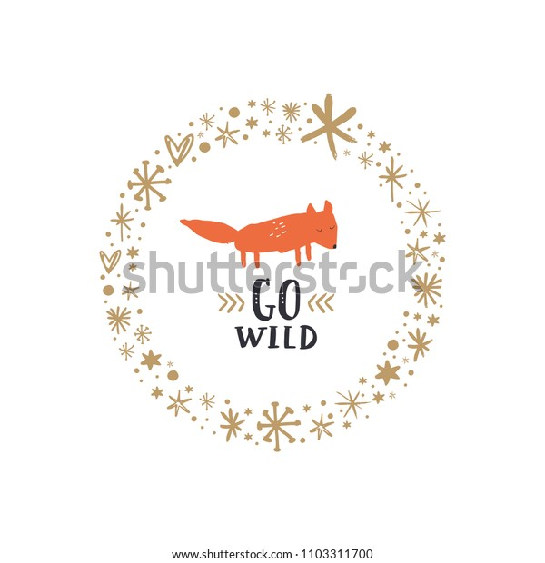 Cute baby fox art and golden frame.  Vector, clipart, isolated details. Editable elements.