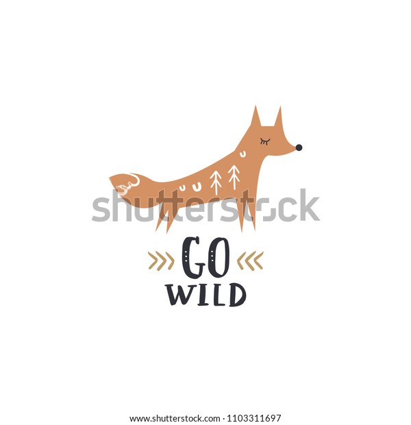 Cute baby fox art and text sign.  Vector, clipart, isolated details. Editable elements.