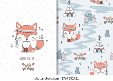 Cute baby fox. Cartoon Tribal   forest animal character. Kids card print template and seamless background pattern. Hand drawn surface design vector illustration.