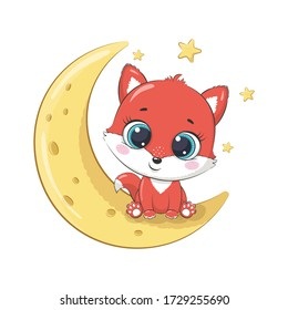 Cute baby fox sitting on the moon. Vector illustration for baby shower, greeting card, party invitation, fashion clothes t-shirt print.
