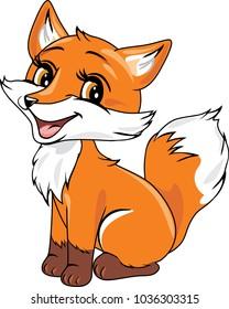 Cute baby fox. Vector