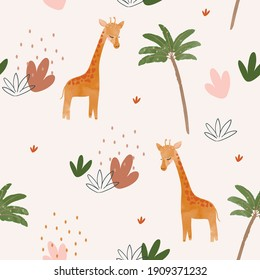 Cute baby giraffe seamless pattern illustration for children. Bohemian watercolor boho forest giraffe drawing, vector illustration. Perfect for nursery posters, patterns, wallpapers.