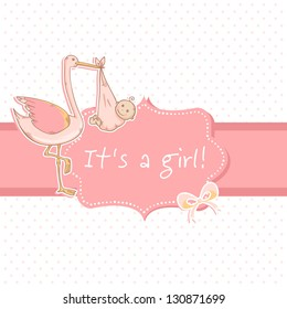 Cute baby girl announcement card with stork and child on polka dot blue background