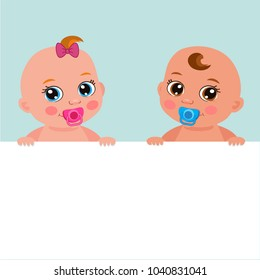 Cute Baby Girl And Boy With Blank Banner Vector Illustration. Cartoon Baby Image. Little Girl And Boy Holding Banner Board.
