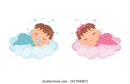 Cute baby girl and boy sleeping on a cloud. Illustration for baby shower, gender reveal, birthday party. Flat vector design.
