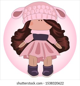 Cute baby girl doll in a beautiful pink dress and with long hair.  Doll in a hat of a sheep.  For your business card, t-shirt print, your logo, poster