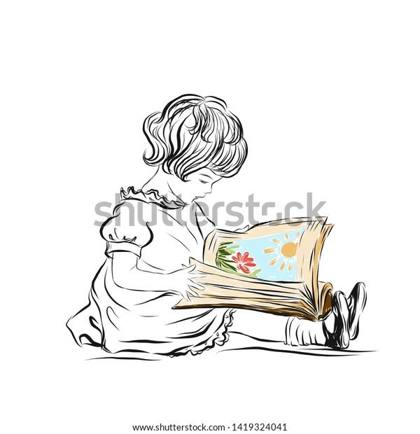 Cute Baby Girl Dress Read Book Stock Vector Royalty Free