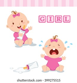 Cute baby girl with milk bottle. Vector illustration of a baby girl holding milk bottle and crying with bottle milk.