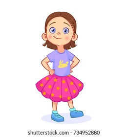 Cute baby girl in a pose with hands on waist. Cutout vector cartoon kids character in full-length.