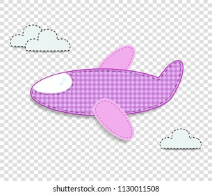 Cute baby girl vector clip art element for scrapbook or baby shower greeting card and kids design. Cut out fabric or paper checkered pink airplane sticker or icon isolated on transparent background.