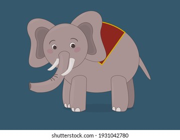 Cute baby grey elephant with background