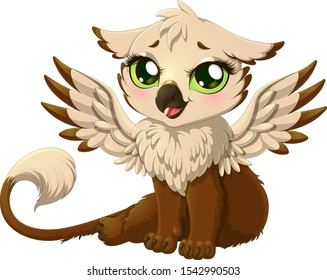 Cute baby griffin with unfolded wings. Vector illustration of beautiful magic sitting griffon isolated on white background. Little cartoon gryphon with big green eyes.