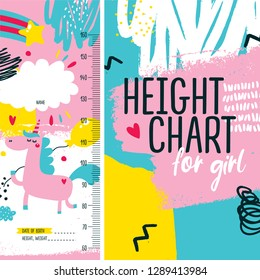 Cute baby height chart meter for little girl with unicorn, star, rainbow, heart, ball, clouds, joy, decor, poster, kid