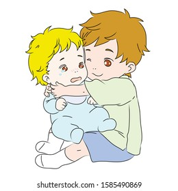 A cute baby hugging his little brother crying. A baby is crying. Brothers . A brother takes care of his little brother