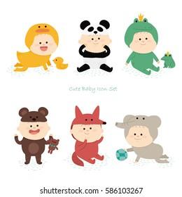 cute baby icon set. vector illustration