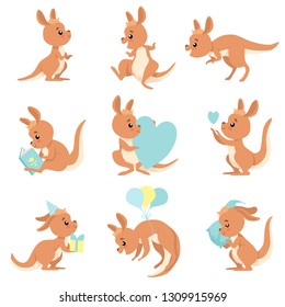 Cute Baby Kangaroo Set, Brown Wallaby Australian Animal Character in Different Situations Vector Illustration