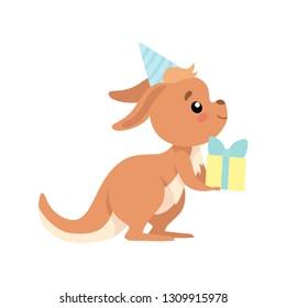 Cute Baby Kangaroo Wearing Party Hat Holding Gift Box, Brown Wallaby Australian Animal Character Vector Illustration