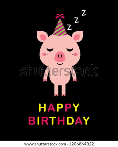 Immagine Vettoriale A Tema Cute Baby Kid Happy Birthday Greeting