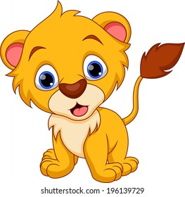 Cute baby lion cartoon