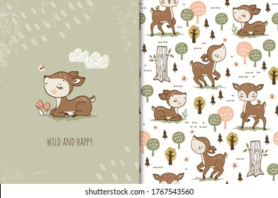 Cute baby little deer sitting on grass and butterfly. Cartoon animal. Forest character. Kids card print template and seamless background pattern set. Hand drawn surface design vector illustration.