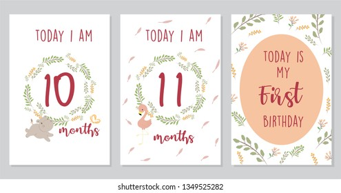 Cute Baby milestone cards. Can use for monthly baby picture Cards and baby shower gift.  Adorable collection of milestone cards.