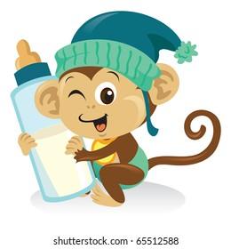A cute baby monkey cartoon illustration holding a bottle of milk.