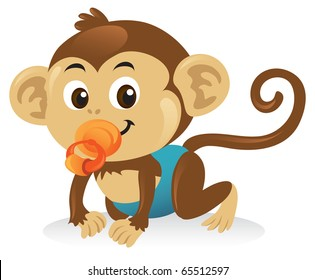 A cute baby monkey cartoon illustration with a pacifier.