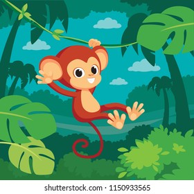 Cute baby monkey hanging on tree. A cute monkey swinging from vines, lianes. Vector illustration. Flat design.