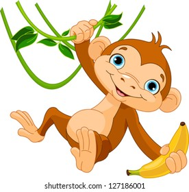 monkey clipart images stock photos vectors shutterstock rh shutterstock com free monkey clipart images free monkey clipart for baby shower