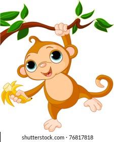 Cute baby monkey on a tree holding banana