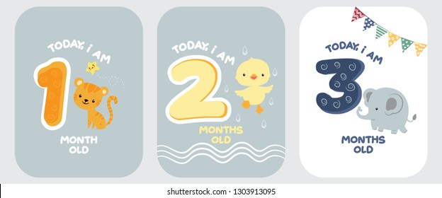 Cute baby month anniversary card