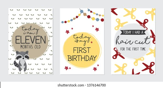 Cute baby month anniversary card. Capturing all the special moments and milestones - Vector
